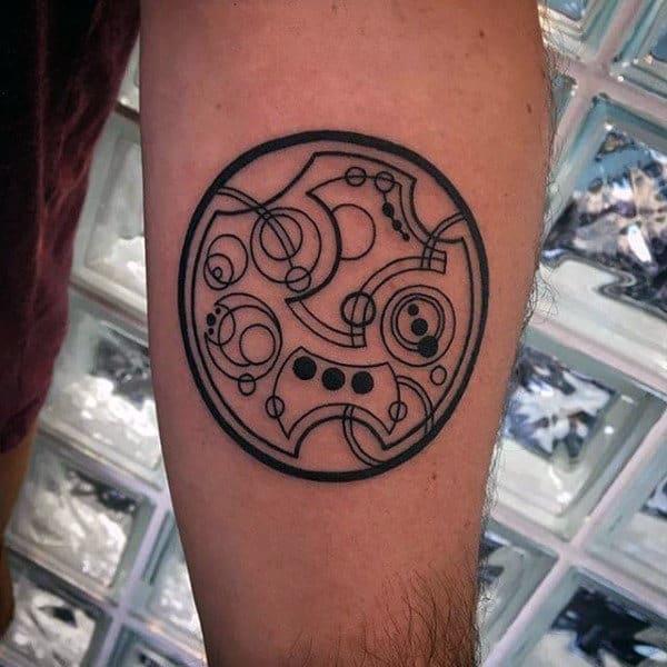 Small Mens Gallifreyan Inner Forearm Tattoo Designs