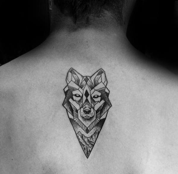 Small Mens Geometric Wolf Upper Back Tattoos