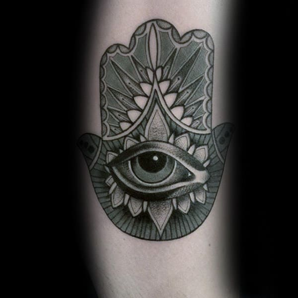 Small Mens Hamsa Shaded Tattoo Inspiration On Forearms