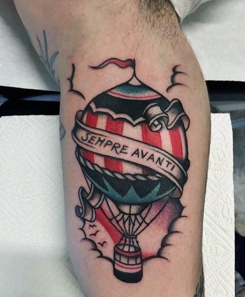 Small Mens Inner Arm Hot Air Balloon Tattoos