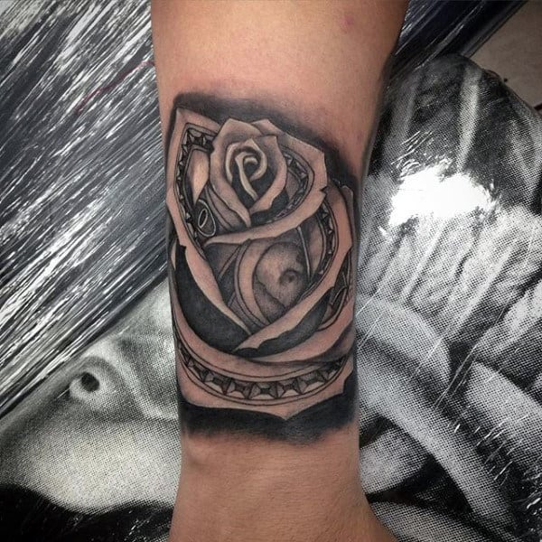 Small Mens Money Rose Tattoo On Wrist