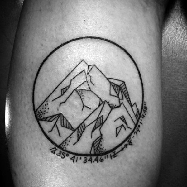 Small Mens Mountain Circle Tattoo On Bicep