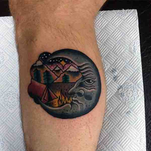 Small Mens Old School Half Moon Tattoo Design On Bicep