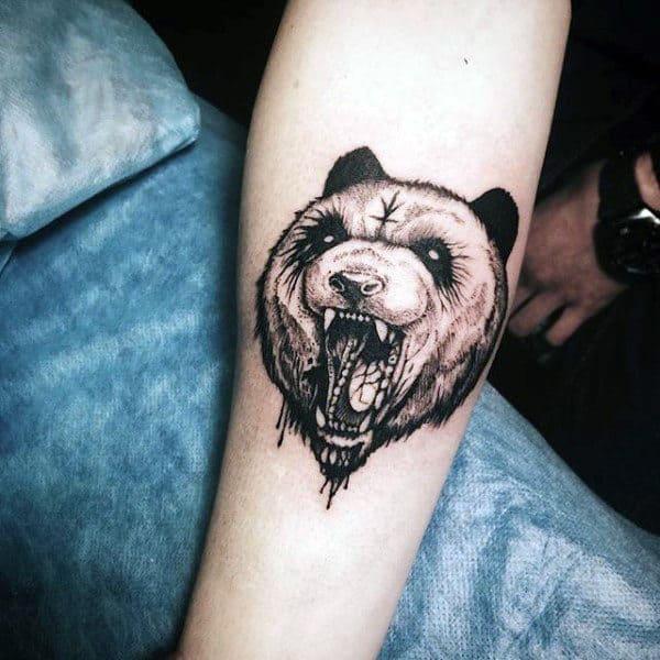 Small Mens Roaring Panda Tattoo Design On Inner Forearm