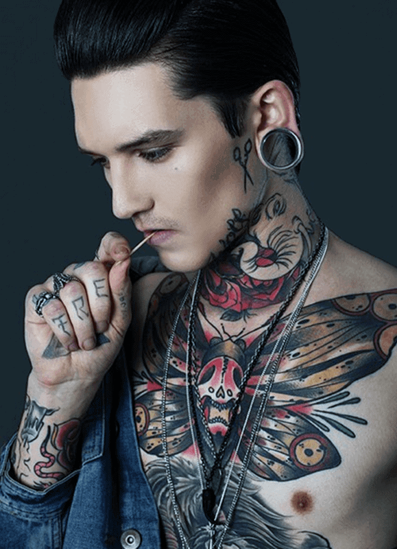 Small Mens Scissors Face Tattoos