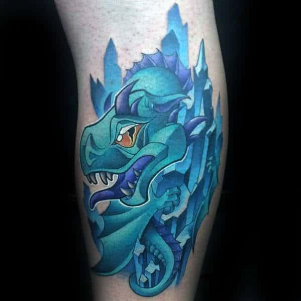 Small Mens Side Of Leg New School Dragon Tattoos