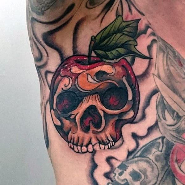 Small Mens Skull Apple Armpit Tattoo