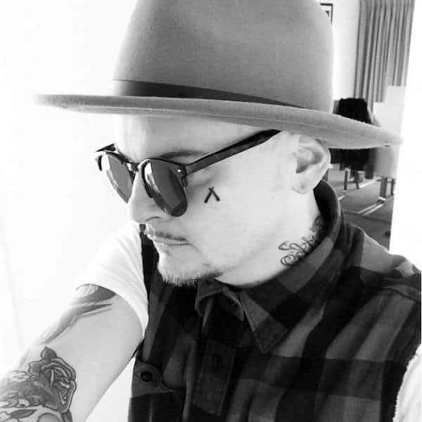 Small Mens Straight Razor Face Tattoo