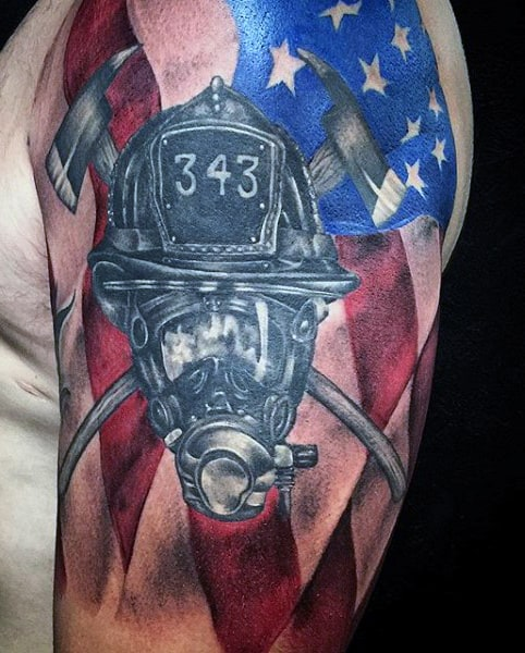 Small Men's Tattoo Firefighter