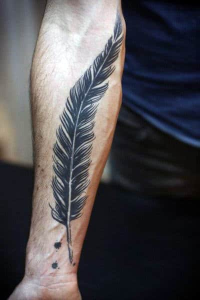 Small Men's Tattoos On Wrist Feather