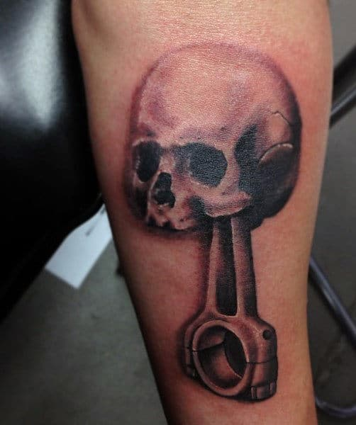 Small Men's Tattoos With Piston And Skull