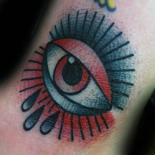 Small Mens Traditional Eye Red And Black Ink Forearm Tattoos