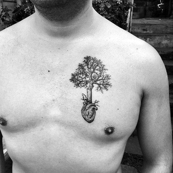 Mens Small Tattoo Chest: 60 Small Tree Tattoos For Men