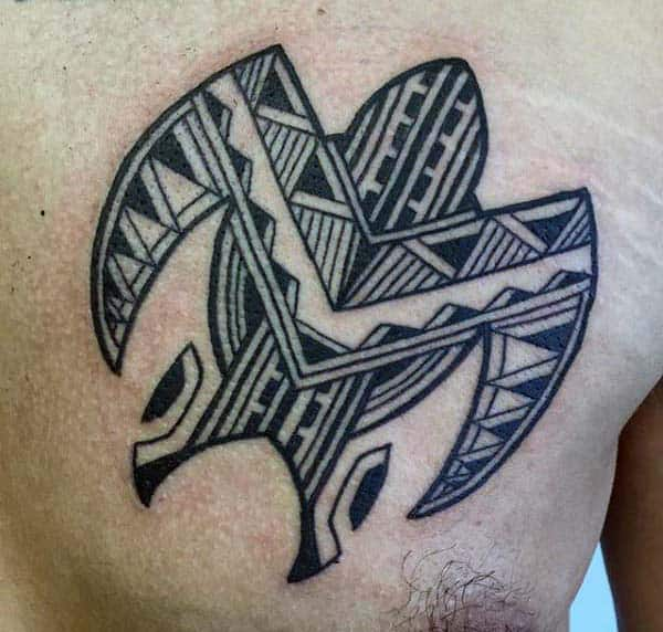 Small Mens Tribal Turtle Chest Tattoo Designs