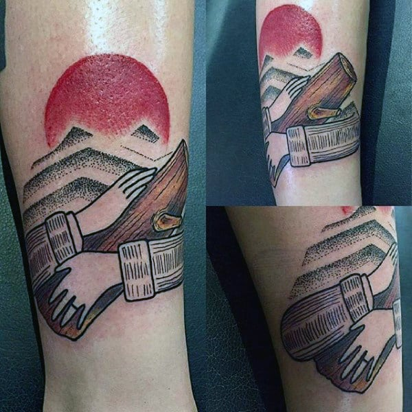 Small Mens Twin Peaks Wrist Tattoos