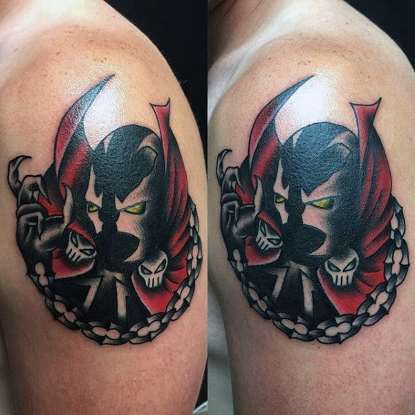 Small Mens Upper Arm Spawn Tattoo Designs