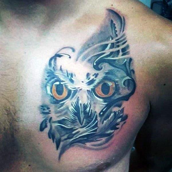 Small Mens Upper Chest Owl Tattoo Design