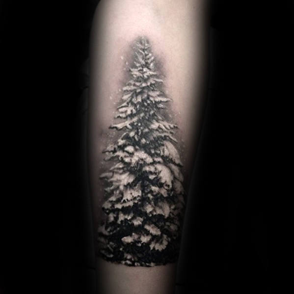 Small Mens Winter Tree Covered In Snow Forearm Tattoo