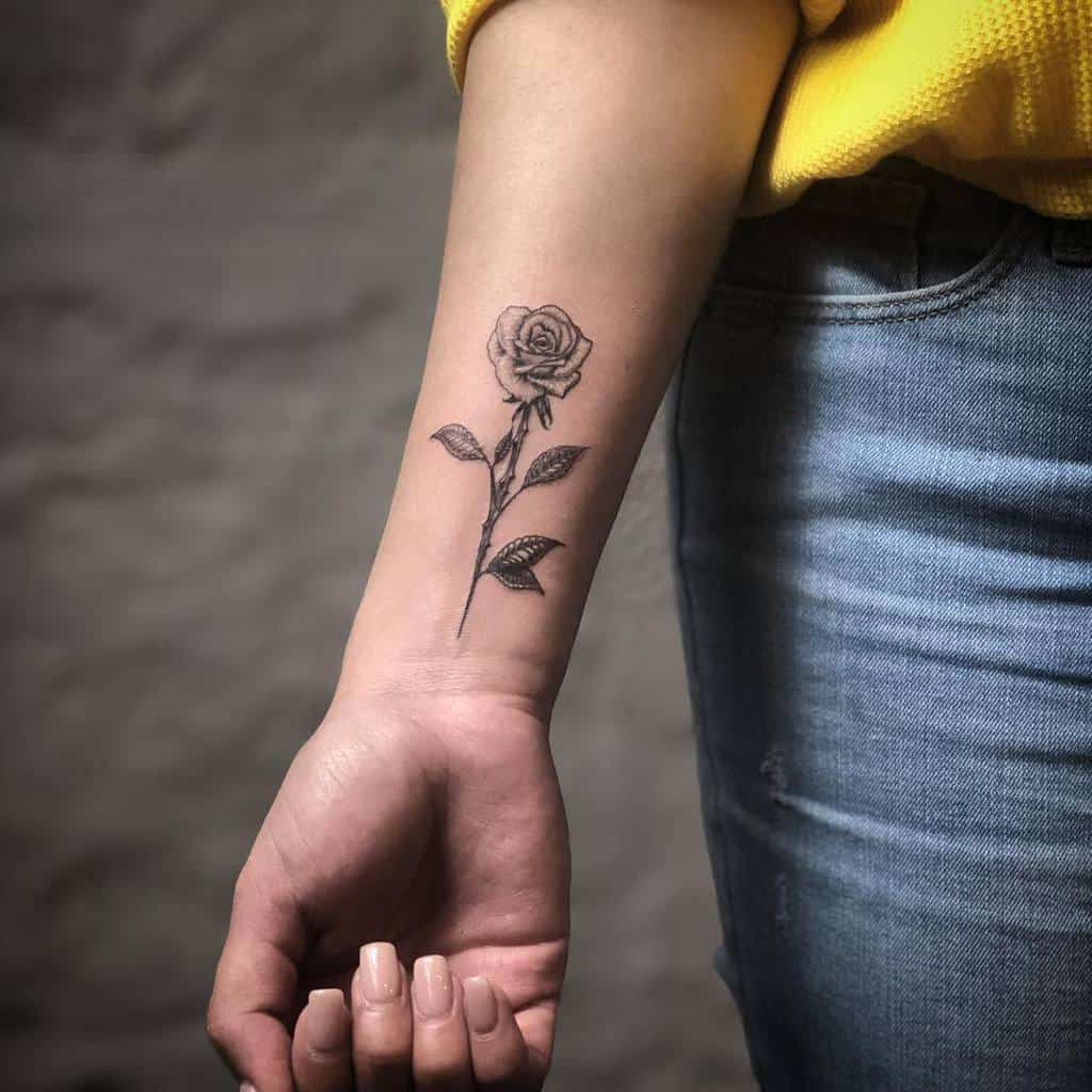 small minimalist black and grey rose tattoos delacruz.ink
