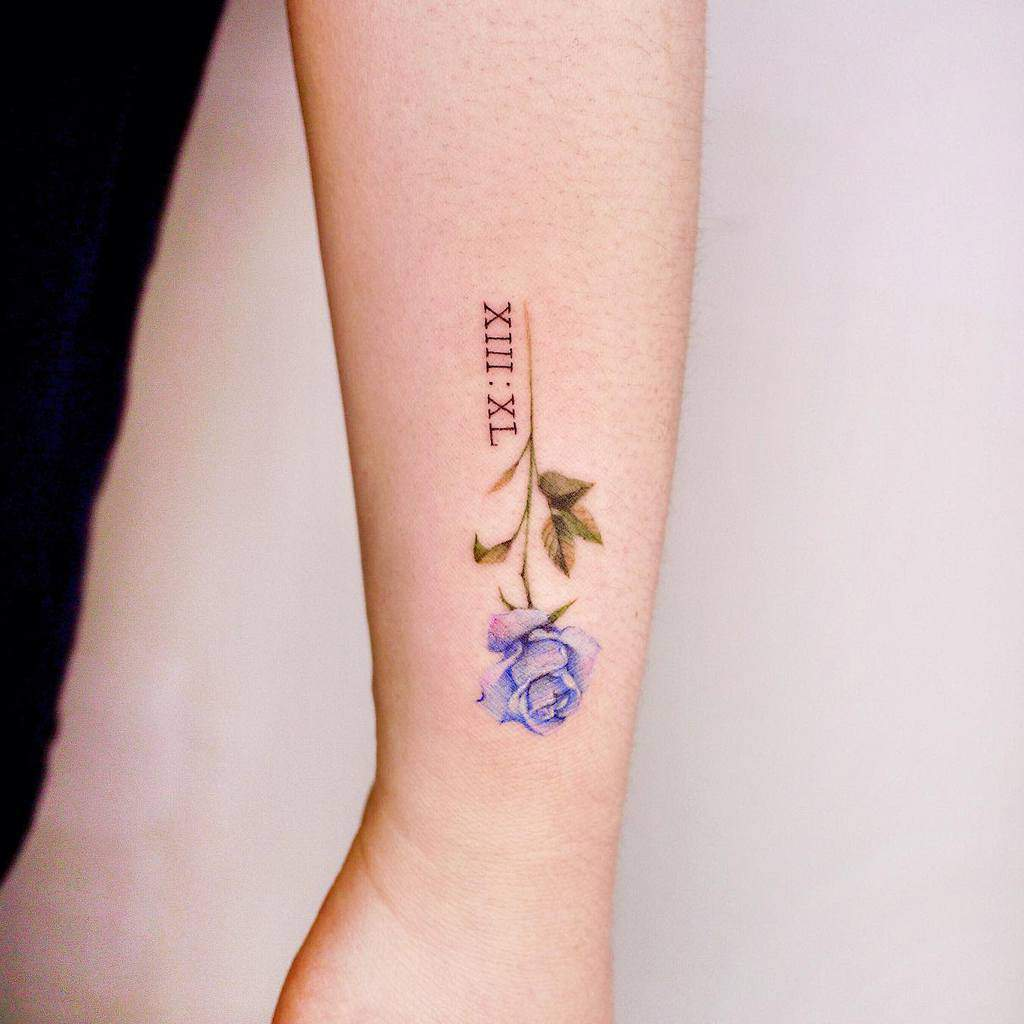 small minimalist blue rose tattoos mint_tattooist