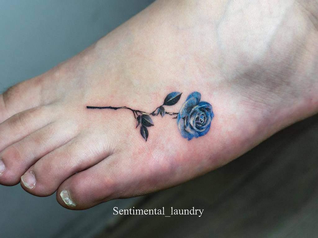 small minimalist blue rose tattoos sentimental_laundry