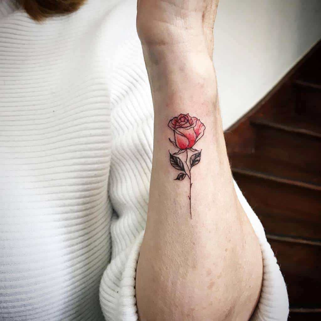 small minimalist red rose tattoos betaamundy