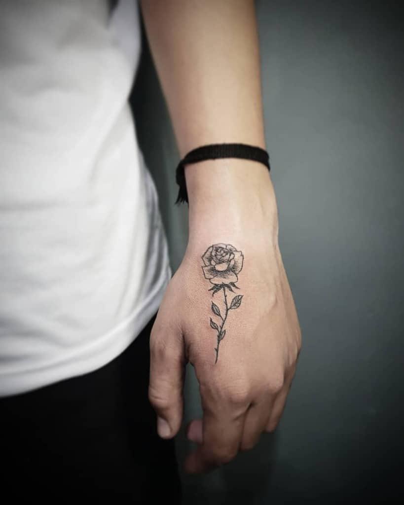 small minimalist rose hand tattoos bryanbjames