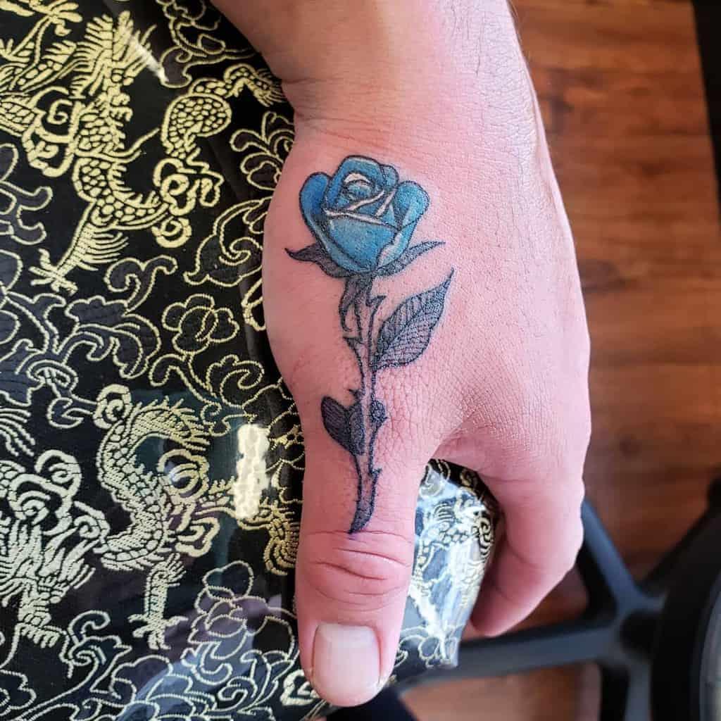 small minimalist rose hand tattoos demaratattoo