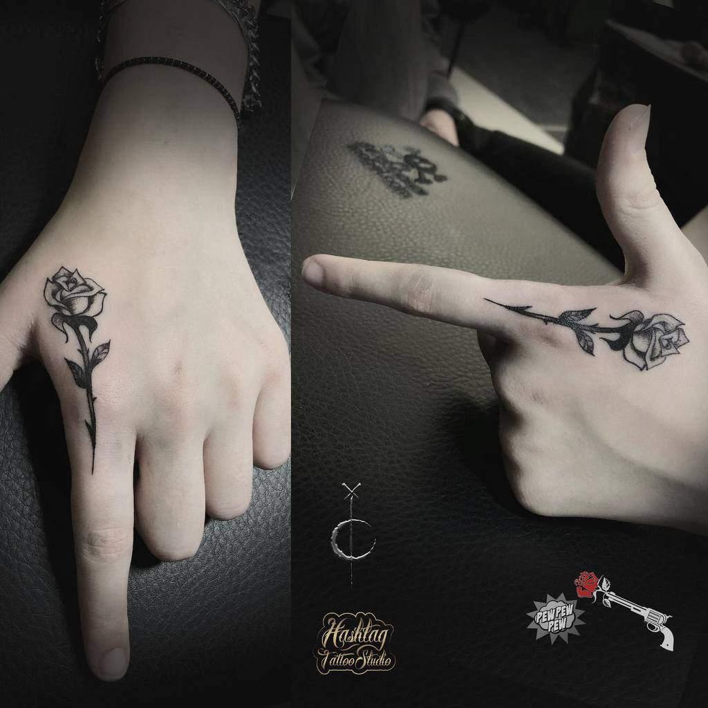 small minimalist rose hand tattoos hashtagtattoo_studio