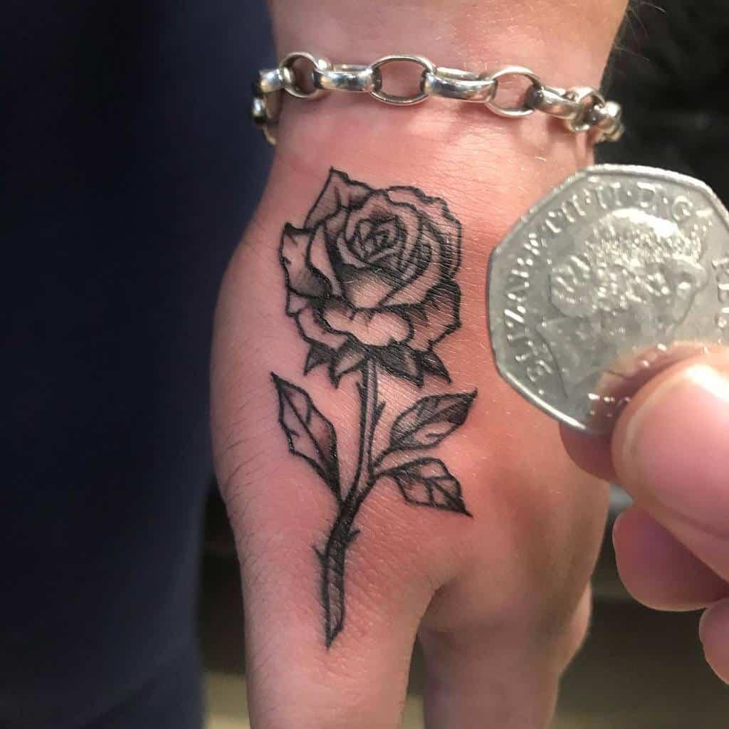 small minimalist rose hand tattoos jesse_tattoos