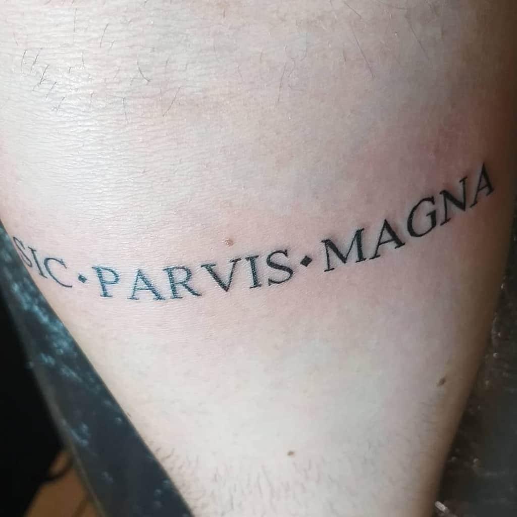 Small Minimalist Sic Parvis Magna Tattoos Freis26