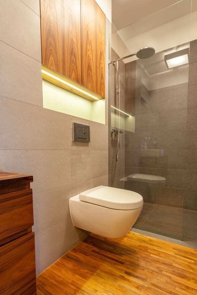contemporary basement bathroom