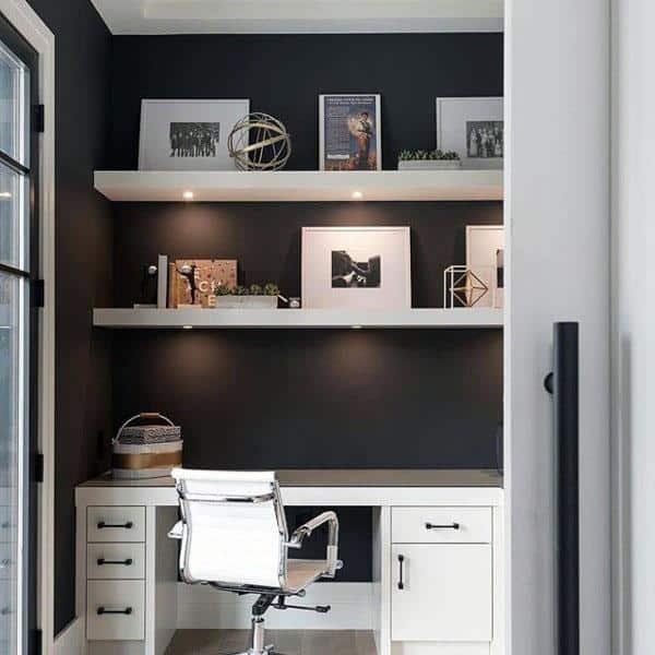 Small Modern Home Office With Black Painted Wall