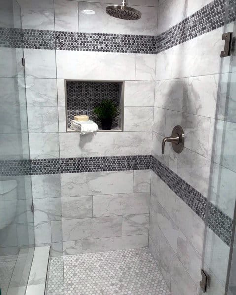 Small Mosaic Dark Grey Tiles Home Design Ideas Shower Niche