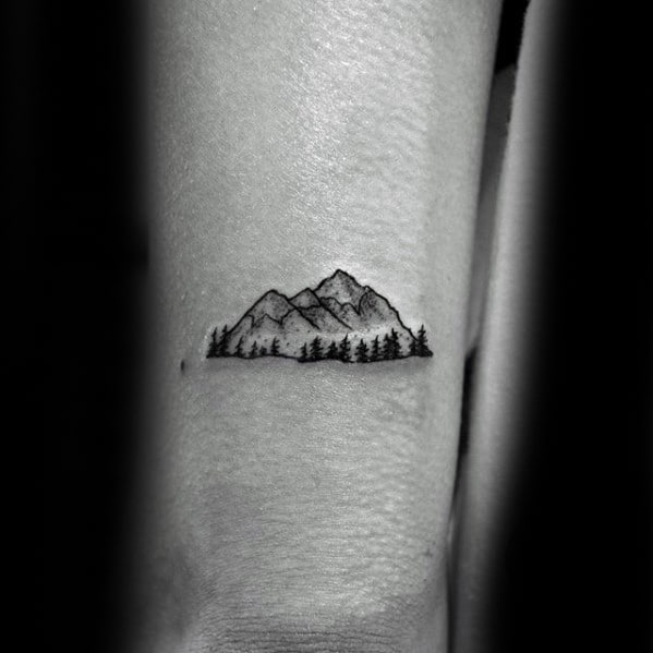 Small Mountain With Forest Guys Back Of Arm Tattoo
