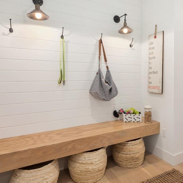Small Mudroom Ideas With Solid Slab Wood Bench Seat