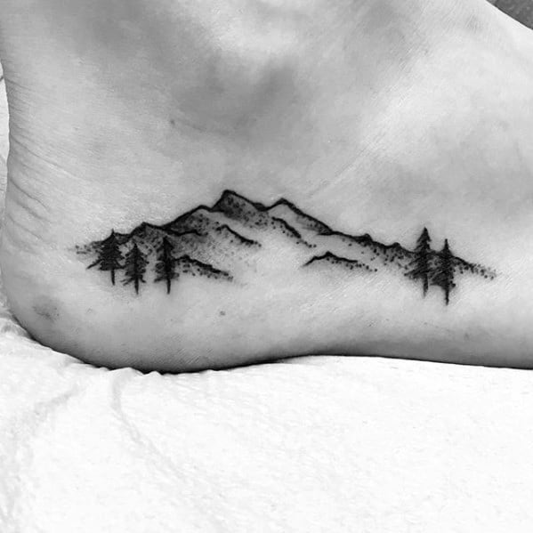 Small Nature Mountain Landscape With Trees Mens Side Of Foot Tattoos