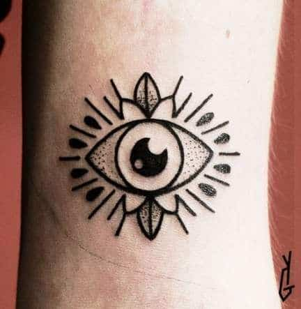 Small Neck Third Eye Tattoo