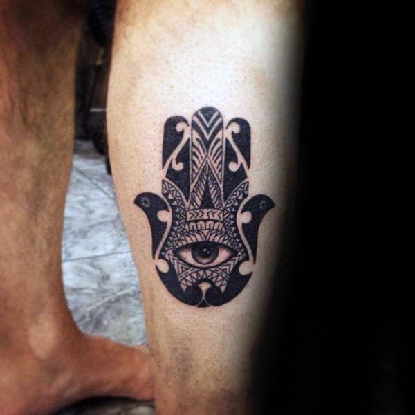 Small Negative Space Hamsa Mens Black Ink Leg Tattoos