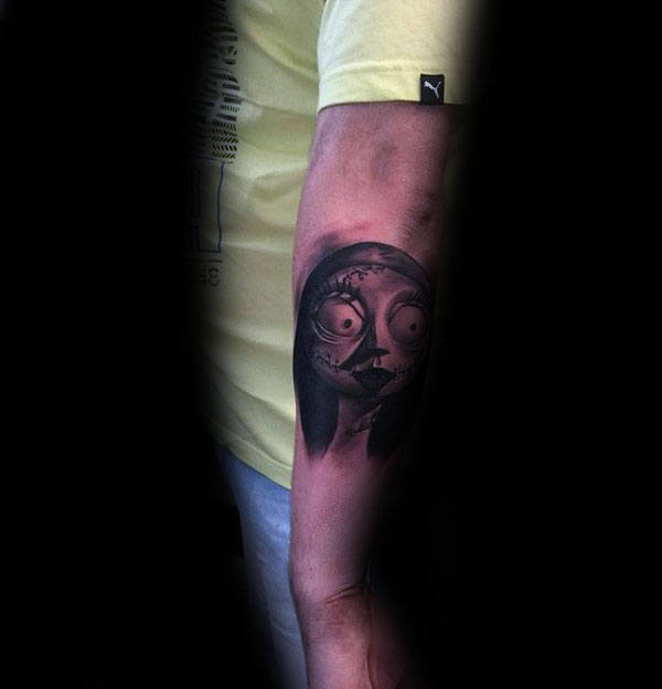 Small Night Before Christmas Sally Mens Outer Forearm Tattoos
