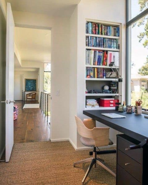 Small Office Ideas For Built In Bookcase Interior
