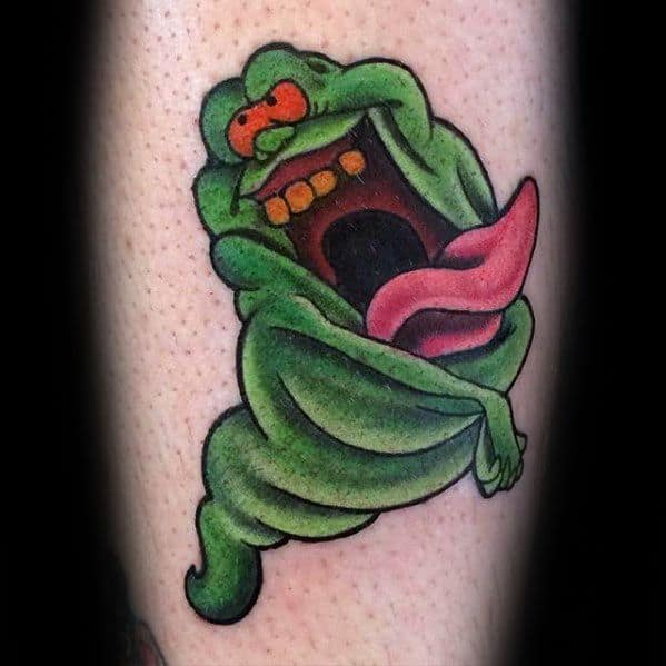 Small Old School Arm Ghostbusters Mens Tattoo Ideas
