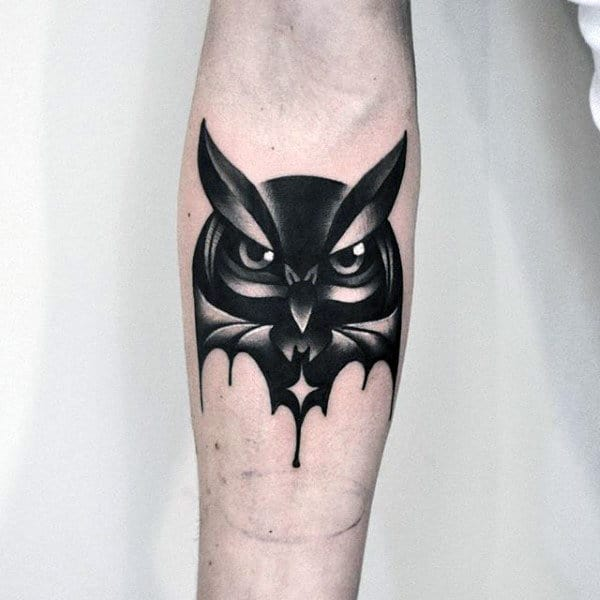 Small Original Owl Mens Inner Forearm Tattoo
