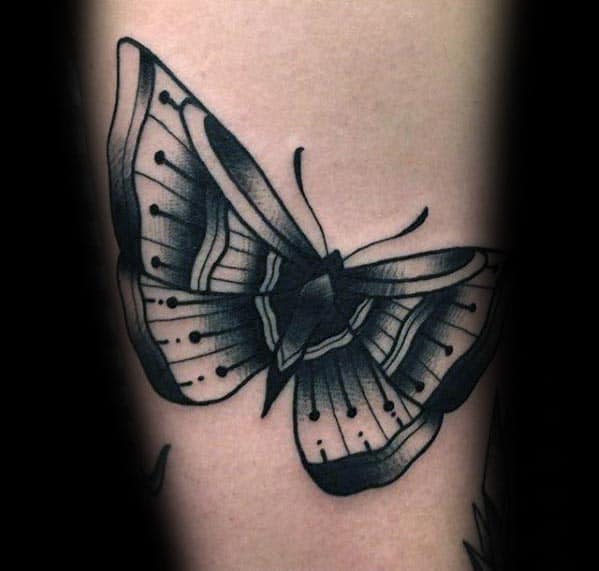 Small Ornate Guys Black Ink Traditional Moth Arm Tattoos
