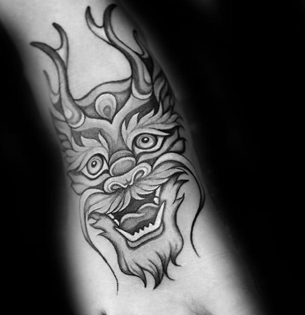 Small Ornate Mens Dragon Foot Tattoo