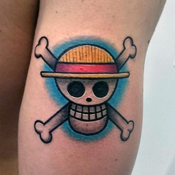 Small Outer Arm Skull Male With Cool One Piece Tattoo Design