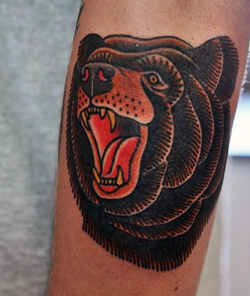 Small Outer Forearm Traditional Tattoos For Guys With Bear Design