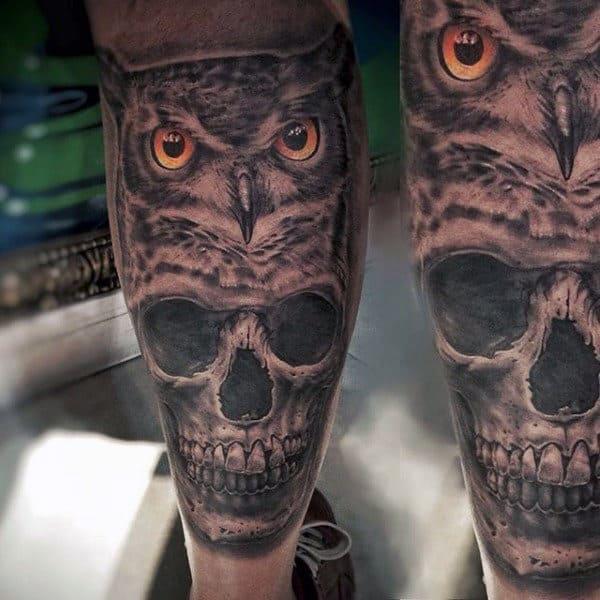 Leg Owl Tattoos For Men