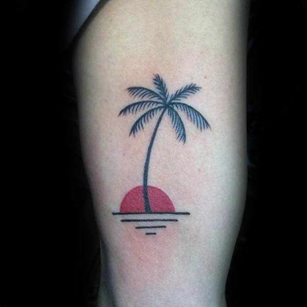Small Palm Tree With Red Sun Mens Thigh Tattoo Ideas