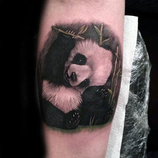 Small Panda Bear Animal Forearm Tattoo On Gentleman